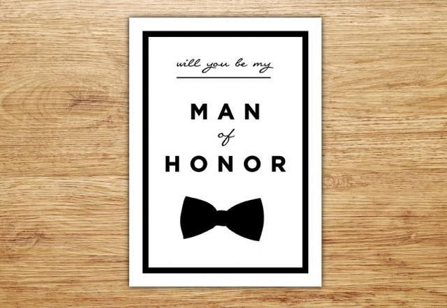 will you be my man of honor  wedding party card  man of
