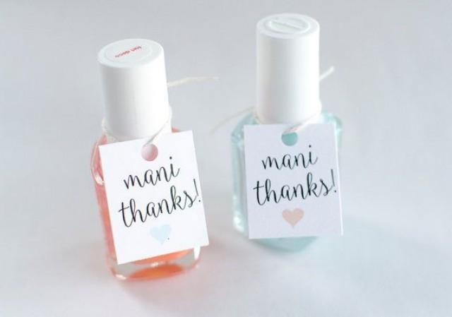 mani thanks nail polish favor tags custom bridal shower favor tags customizable color party favor gift tags heart tags set of 18 2555476 weddbook