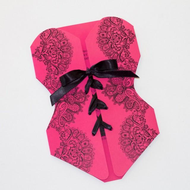 lingerie corset bachelorette party invitations - bridal shower, Party invitations