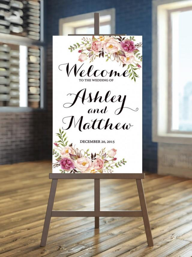 Printable Wedding Sign Welcome Wedding Sign Floral