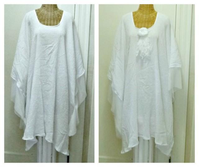 Luau cotton kaftan festival wedding dress beach caftan for White kaftan wedding dress