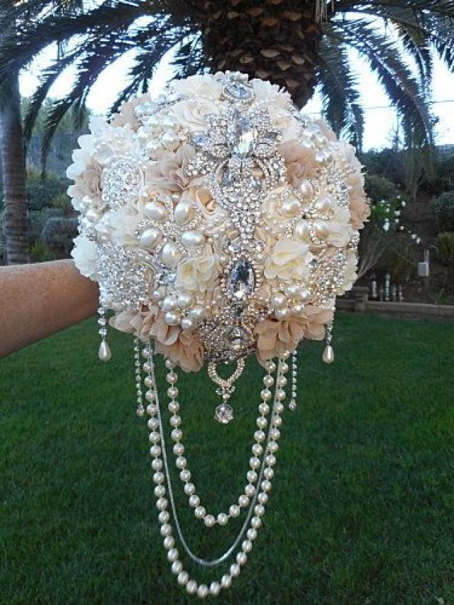 Cascading Brooch Bouquet Deposit Only For Glamorous