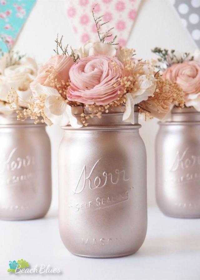 Rose Gold Wedding Decor Blush Centerpiece Painted Mason Jars Table Reception 2556619