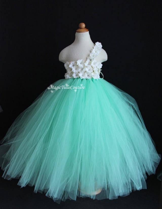 Mint Green Aqua Flower Girl Tutu Dress Wedding Dress Tulle Dress