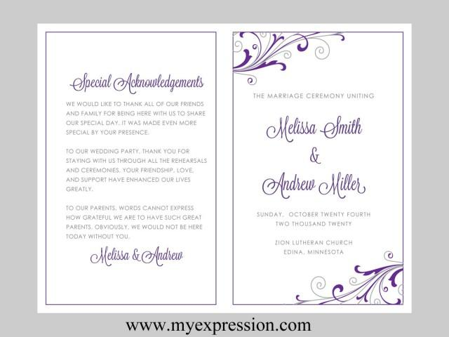 weekly bulletin template - wedding program template swirl and flourish purple