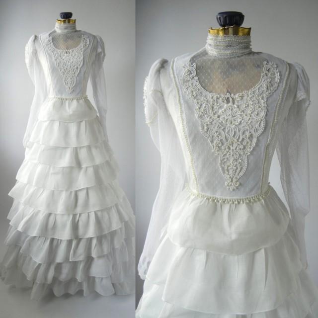 Vintage Wedding Gown, White Retro Bridal Dress, Linen Vintage ...