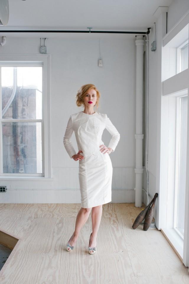 Juno Wedding Dress Handmade Beautifully Modern Tailored Silk Shantung Suit With Feminine Bow Details 2558019