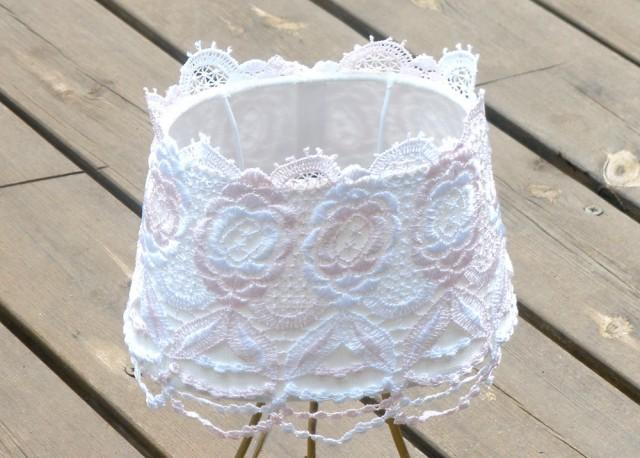 Shabby Chic Lampshade Table Decor Living Room Light Rustic Floral Lace Fabric Cottage