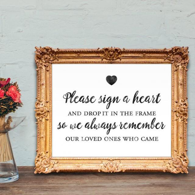 Wedding Guest Book Sign Please Sign A Heart And Drop It