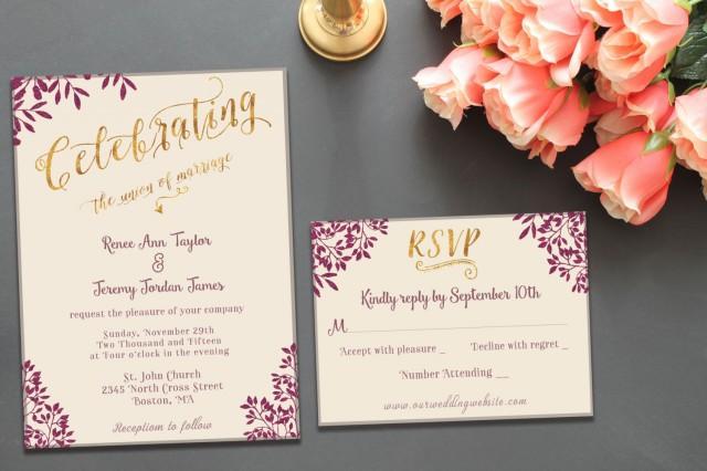 Printable Wedding Invitation Suite Template Classy