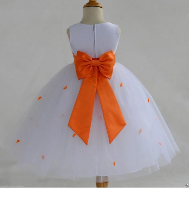White Orange Rosebud Flower Girl Dress Tiebow Sash Pageant