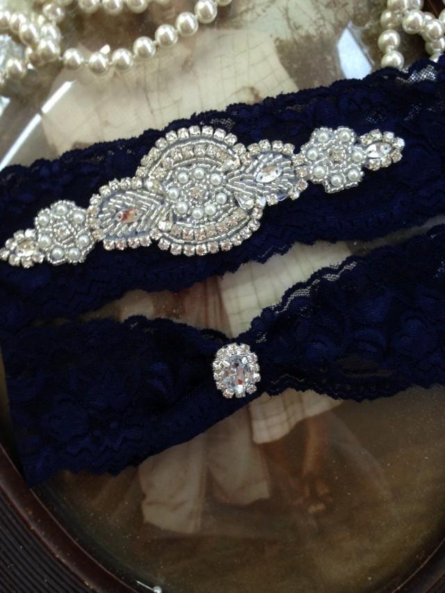 8a937e4bd SALE-Wedding Garter-Garter Belt-Bridal Garter-Garter-Navy-Blue-Lace Garter-Rhinestone  Garter-Something Blue-Vintage Garter-Pearl Garter  2559045 - Weddbook