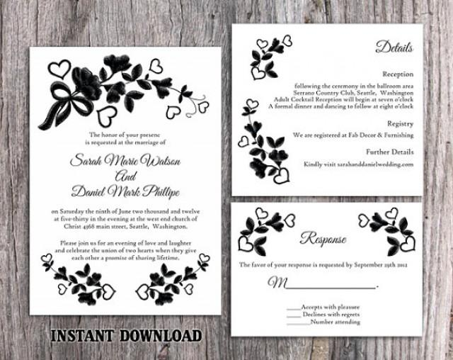 Lace Wedding Invitation Template: DIY Lace Wedding Invitation Template Set Editable Word