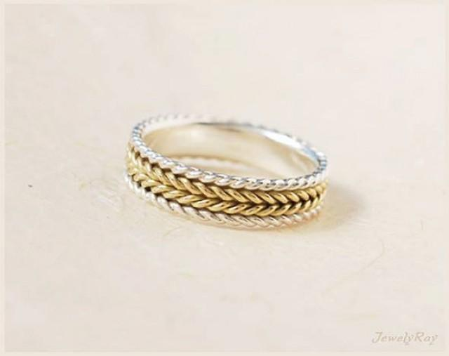 Silver And Gold Braided Ring