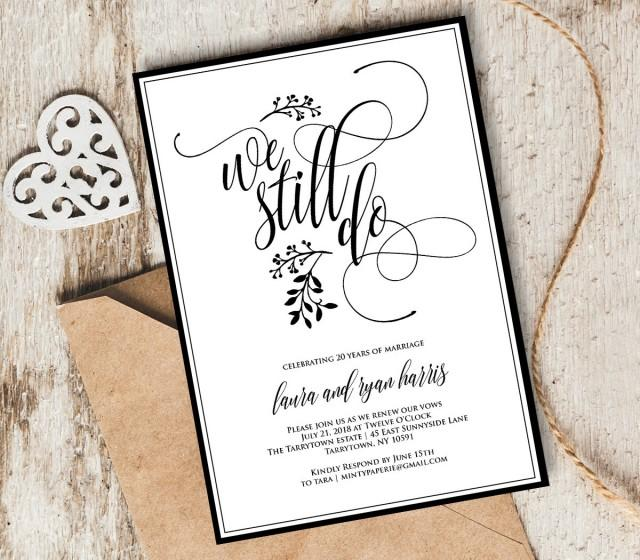 Wedding Vow Renewal Invitations: Vow Renewal Invitation Template, We Still Do, Instant