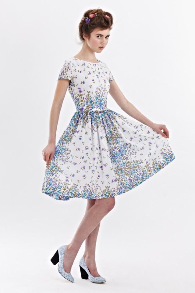 1950s Floral Dress Tea Party Dress Women 50s Retro Dress Prom Dress ...