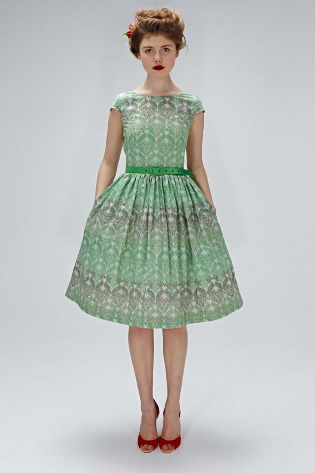 1950s Inspired Dress Tea Length Dress Emerald Green Dress