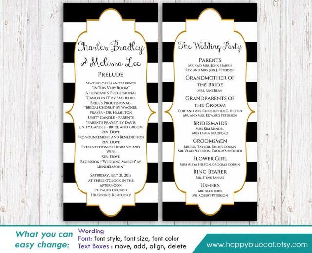 Diy Printable Program Wedding Template Instant Download