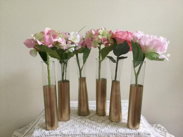 Gold Vases Gold Wedding Decor Set Of 6 Gold Dipped Champagne