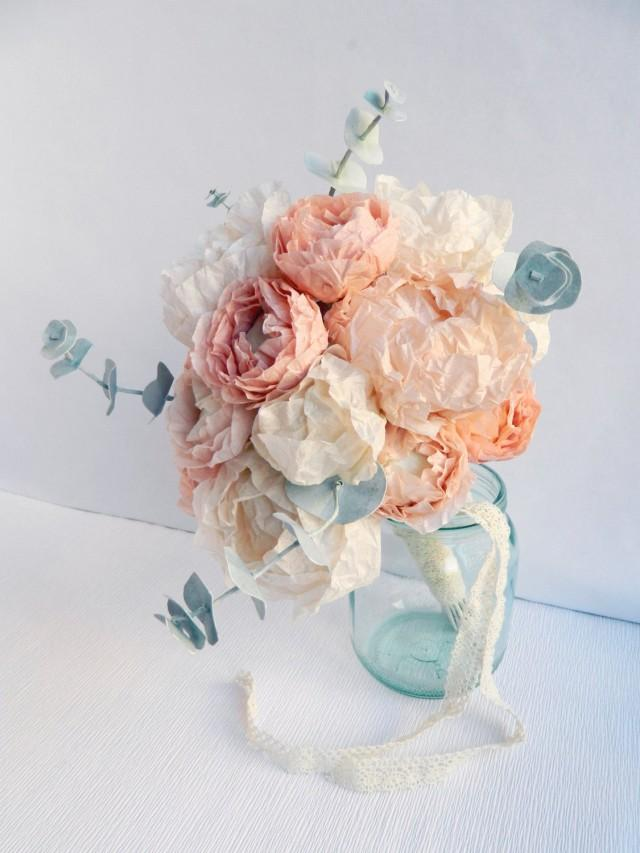 Paper Flower Bouquet With Peonies, Ranunculus And Eucalyptus, Paper ...