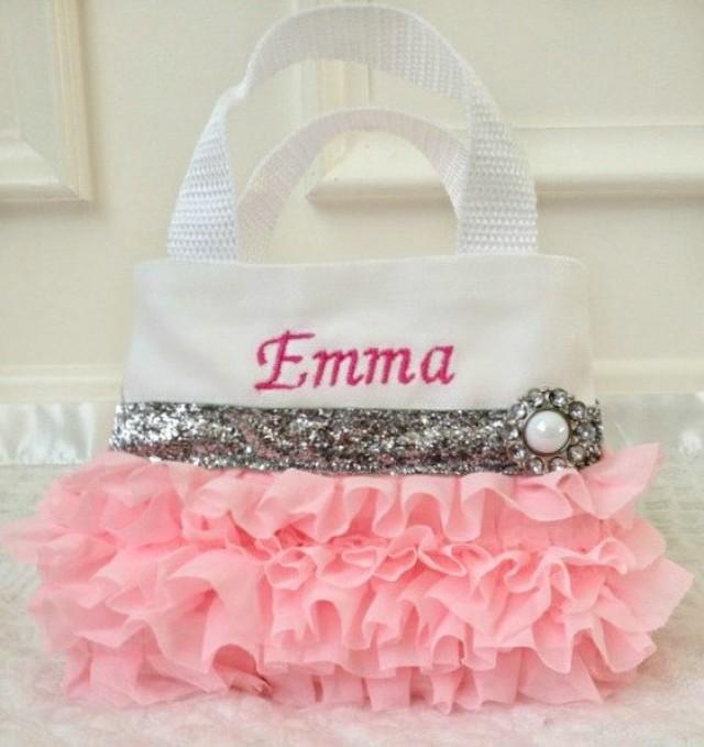 Pink Chiffon Flower Girl Purse Party Favor Bags Birthday Gift