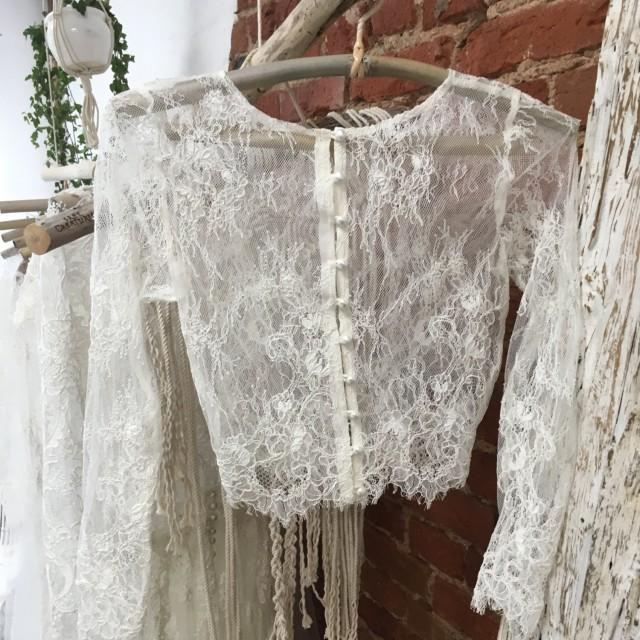 Bridal Top Wedding Lace Top Ivory Lace Topper Long
