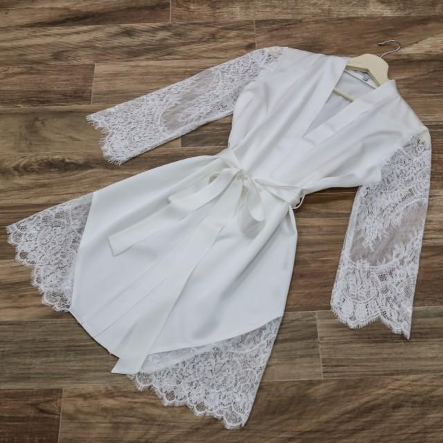 Bridal Robe To Get Ready In: White Bridal Robe/ Silk Bridal Robe/ Lace Sleeve Robe