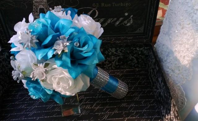 Malibu blue white rose with silver accents wedding bouquet