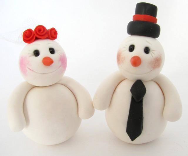 Winter Wedding Cake Topper, Snowman, Bride And Groom #2561719 - Weddbook