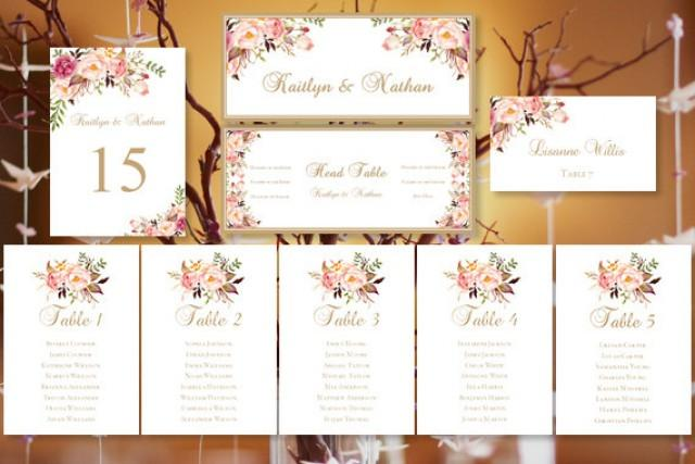 "Wedding Seating Chart ""Romantic Blooms"" Floral Table Sign"