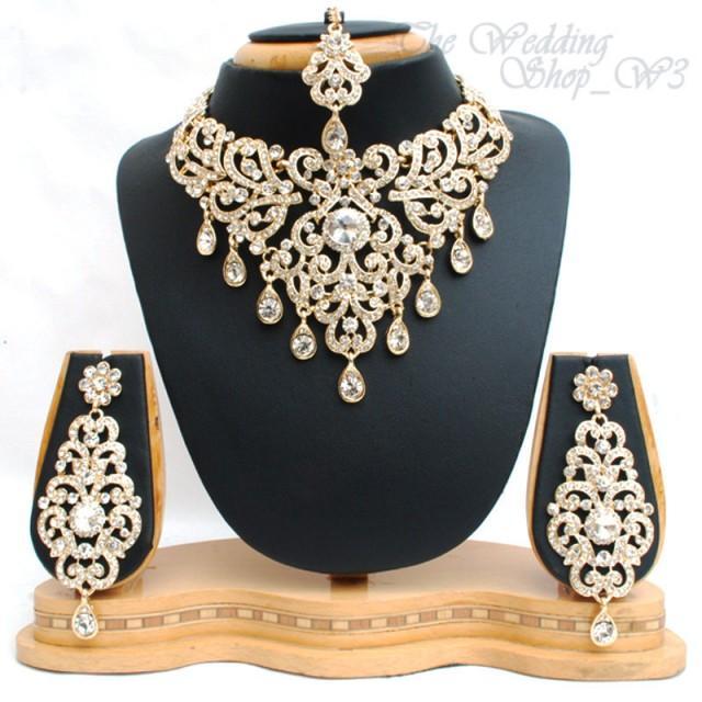 Lady Wedding Jewelry Set Rhinestone Diamante Gold Plating Necklace Earrings