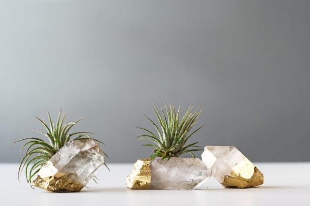 Air Plant Gold Dipped Quartz Crystal Boho Decor Air