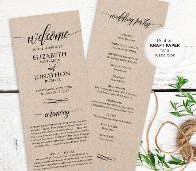 wedding program printable  order of service  rustic ceremony program template  instant download