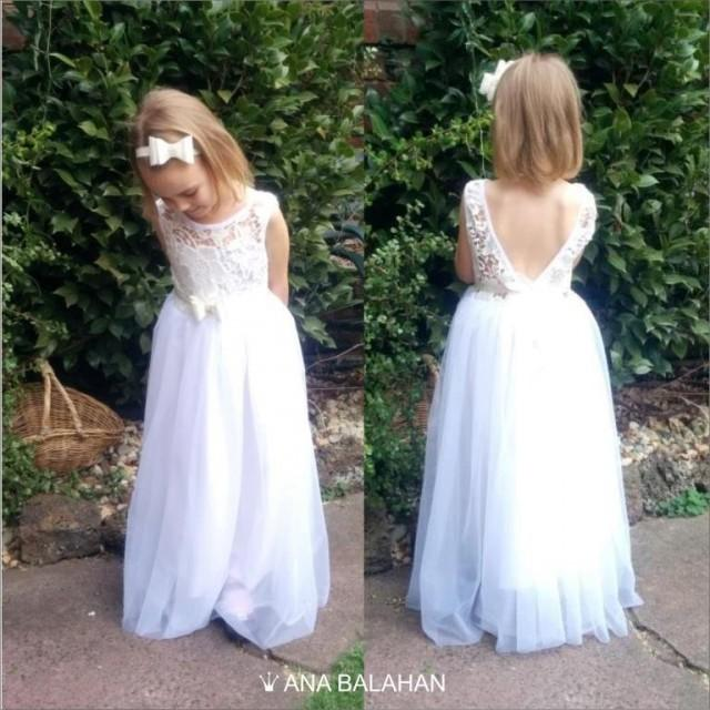 d61b45e79489 V-neck Flower Girl Dress - WHITE   WHITE-OFF