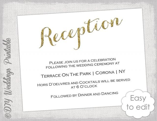 wedding reception invitation template diy gold glitter printable