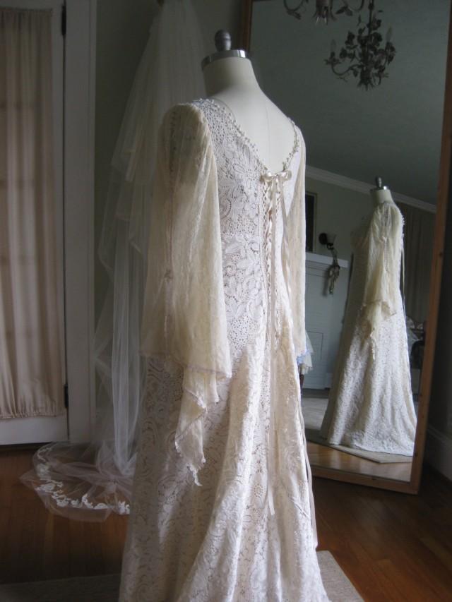 Renaissance Faery Tale Champagne Lace Wedding Gown Renn Sleeve