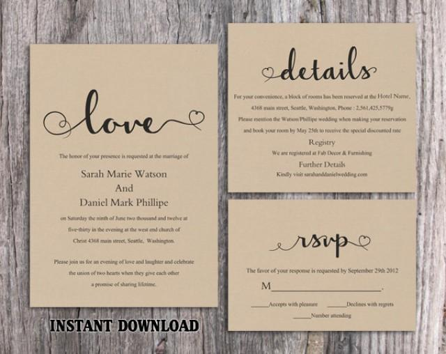 Diy burlap wedding invitation template set editable word for Free rustic wedding invitation templates