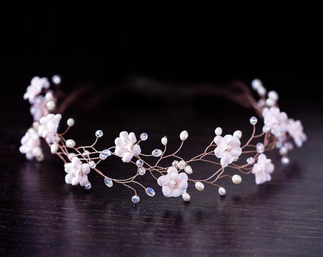 32 Blush Flower Tiara Rose Gold Bridal Crown Pink Flower