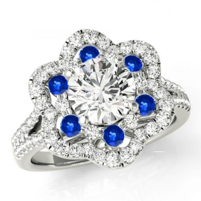 Forever One Moissanite Diamond Sapphire Flower Lotus Engagement
