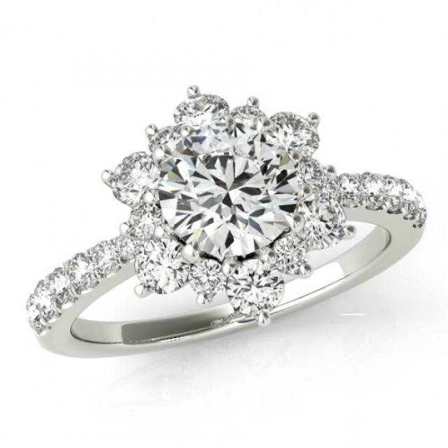 gia certified 050 carat diamond flower engagement ring