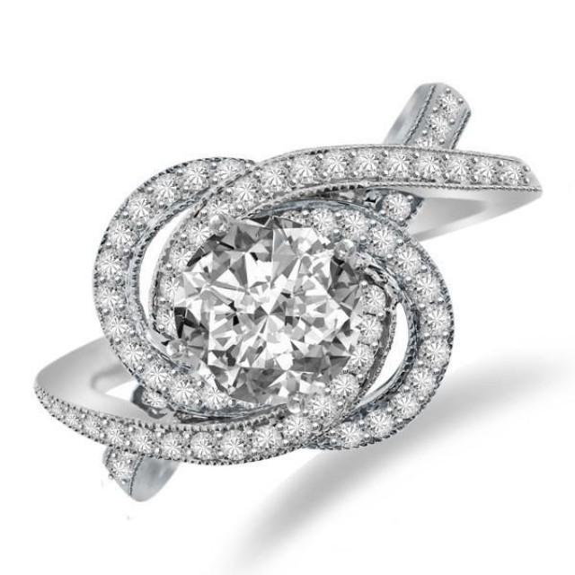 Forever One Moissanite & Diamond Swirl Halo Engagement Ring