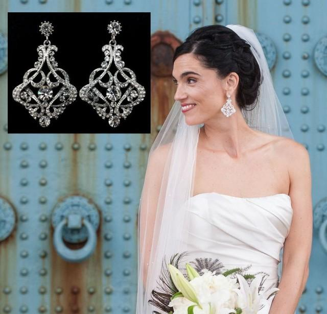 Art Deco Bridal Earrings, Gatsby Earrings, Statement Wedding ...