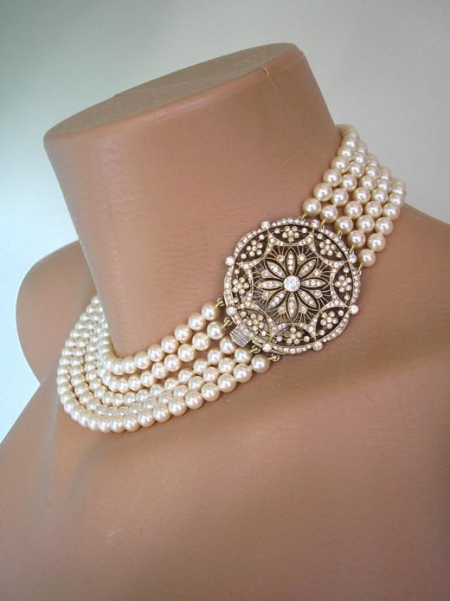 5 Strand Pearl Necklace Pearl Choker Cream Pearls