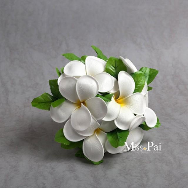 Free Shipping Artificial White Yellow Plumeria Frangipani Small