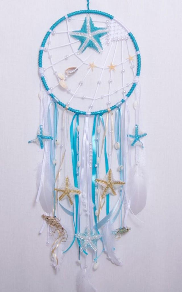Blue Sea Dream Catcher Boho Dreamcatcher Wedding Decor Wall Hanging Bedroom Mobile