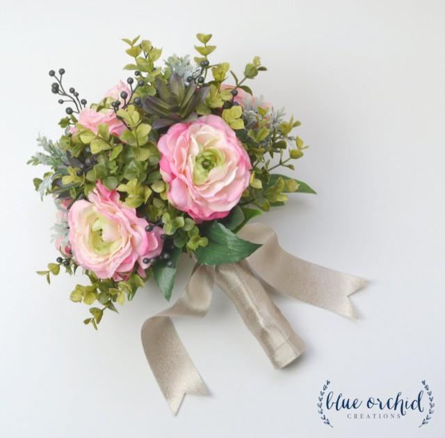 Eucalyptus And Ranunculus Wedding Bouquet Silk Bouquet