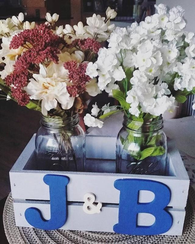 Rustic personalized initial crate with mason jars floral
