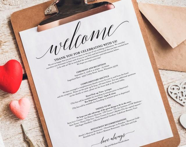 wedding itinerary  welcome bag  printable itinerary