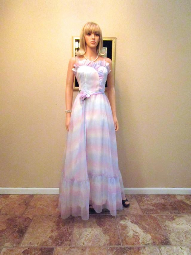 Vintage 1970s Does 1950s Evening Gown Satin Chiffon Retro