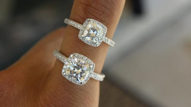Moissanite 1 Carat Vs 2 Carat Cushion Forever One